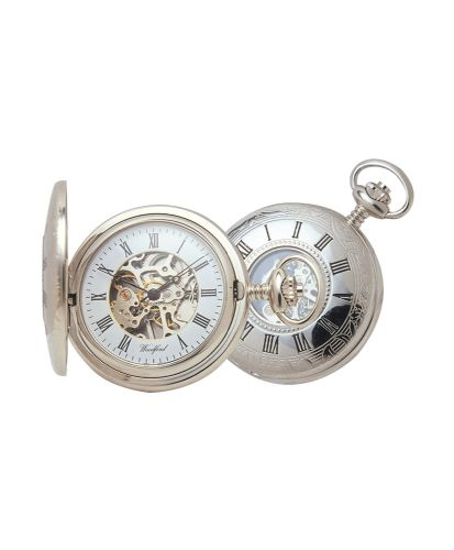 Mechanical Chrome Plated Half Hunter Pocket Watch With Chain